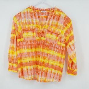 Calvin Klein Womens Coral Print Shirt Flap Pockets